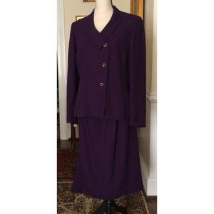 Kasper 2 Piece Suit Skirt Jacket Purple 12 Rayon